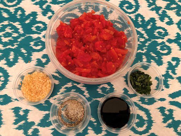 Measured Bruschetta ingredients